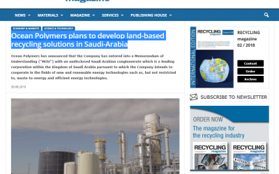 Recycling Magazine: Ocean Polymers plans to develop land-based recycling solutions in Saudi-Arabia
