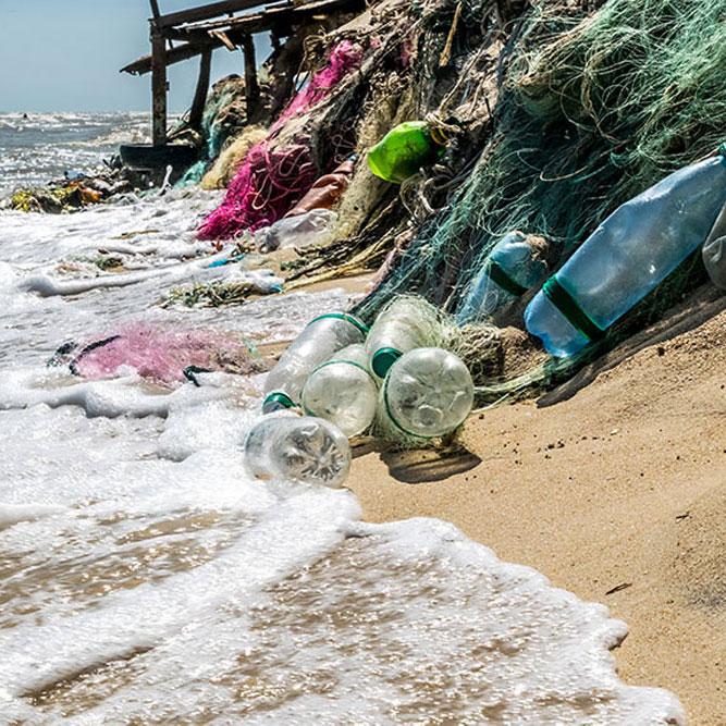 Photo of plastics on Kuta Beach in Bali